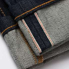 material shot of selvage detailing on cuff