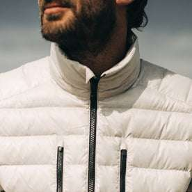 our fit model wearing The Taylor Stitch x Mission Workshop Farallon Jacket in fog—cropped shot of chest