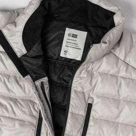 material shot of logo inside jacket