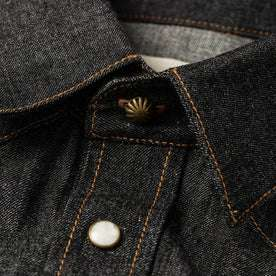 material shot of collar and buttons
