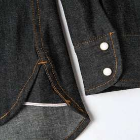 material shot of wrist snaps and selvage detailing
