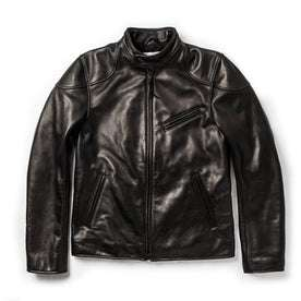 The Band Collar Moto Jacket in Black Steerhide: Featured Image