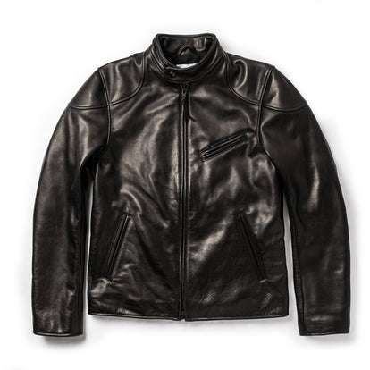 The Band Collar Moto Jacket in Black Steerhide