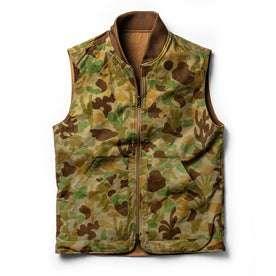 flatlay of vest, camo side