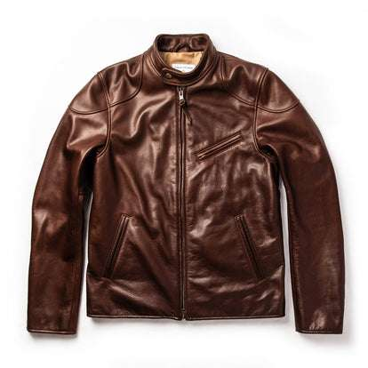 The Band Collar Moto Jacket in Espresso Steerhide