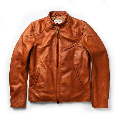 The Band Collar Moto Jacket in Whiskey Steerhide