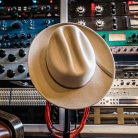 material shot of The Packable Lane Splitter in Mushroom, resting on recording equipment
