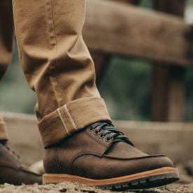 our fit model wearing The Scout Boot in Espresso Grizzly—cuffed pants