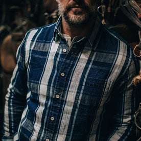 fit model wearing The California in Indigo Plaid, shot of chest
