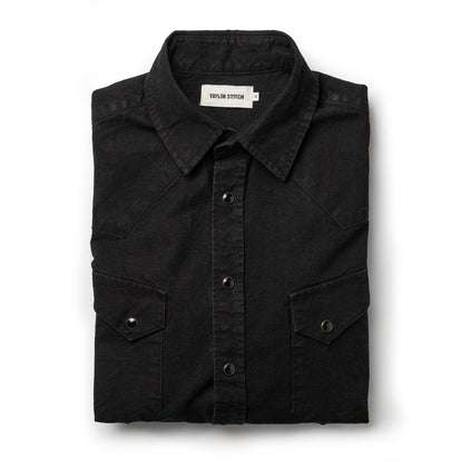 The Western Shirt in Washed Black Selvage Chambray