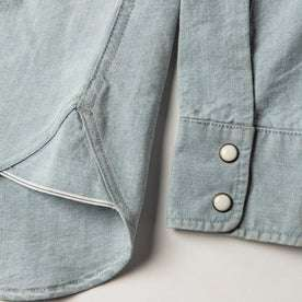 material shot of selvage detail and sleeve cuttons