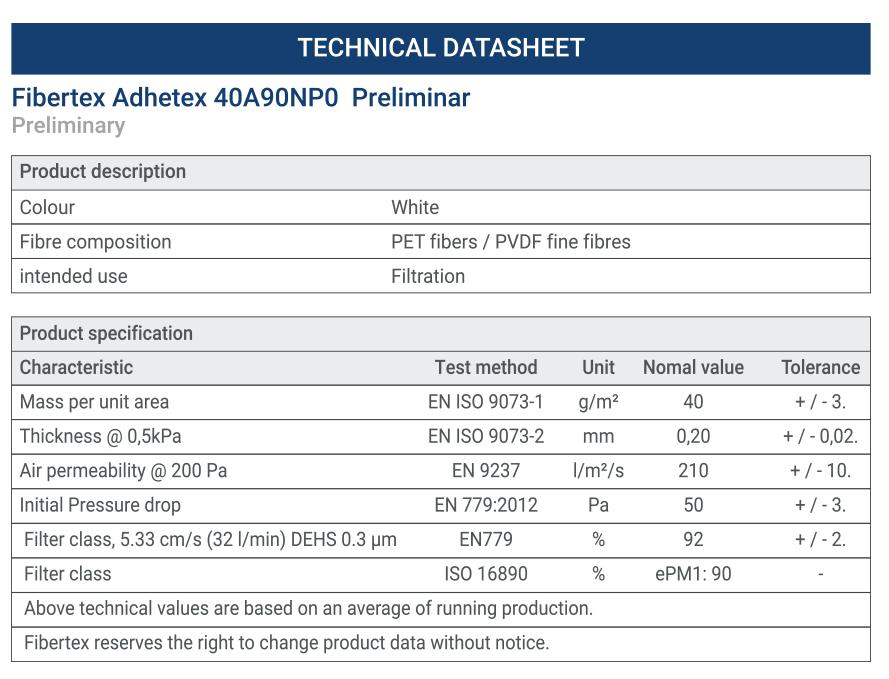 n95 tech sheet