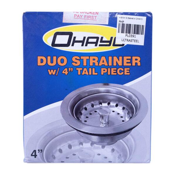 "Kitchen Sink Strainer Basket 4"" Ohayo with Tail Piece"