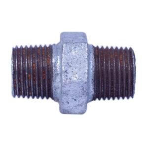 "Galvanized Iron Hex Equal Nipple 13mm 1/2"" Heavy duty"