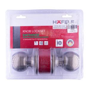 Hafele 489.10.001 Knob Lockset Entrance Antique Brass