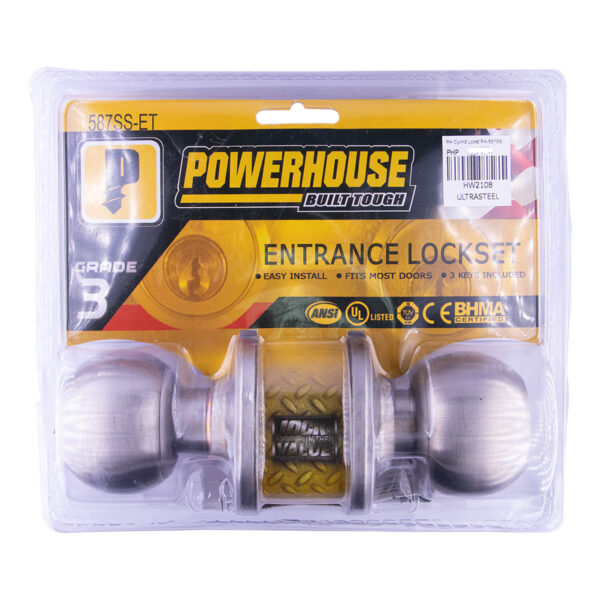 Powerhouse Cylinder Lockset PH-587SSET Satin