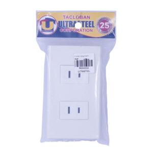 Panasonic Wide (Set) 2-Gang Flat Pin Outlet White Plate