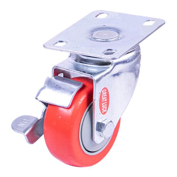"""GL Caster 3"""" Swivel Caster w/Brake (red) MP03AB 100kg."""
