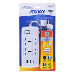 ROYU EXTENSION CORD 4 OUTLET 1MAIN, 3USB WHITE REDEC634/W