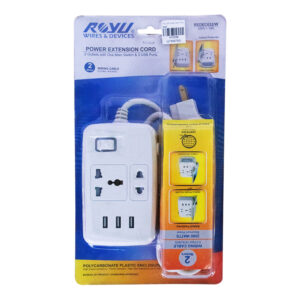 ROYU EXTENSION CORD 2 OUTLET 1MAIN, 3USB WHITE REDEC632/W