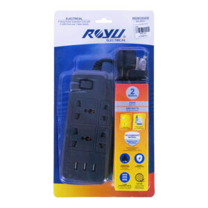 ROYU EXTENSION CORD 4 OUTLET 1MAIN,3USB GRAY REDEC634/G