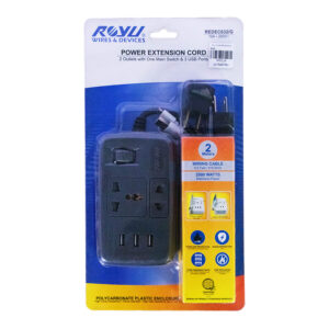 ROYU EXTENSION CORD 2 OUTLET 1MAIN, 3USB GRAY REDEC632/G
