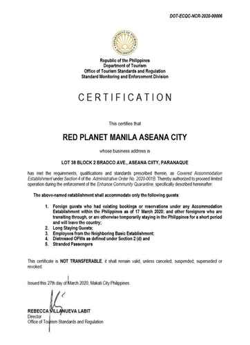 BEDROOM Red Planet Manila Aseana City -  For Quarantine Stays