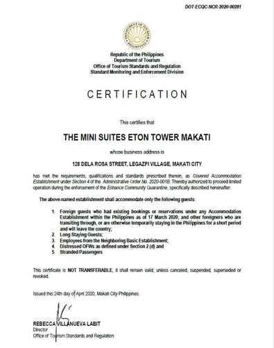 HYGIENE_FACILITY The Mini Suites Eton Tower Makati