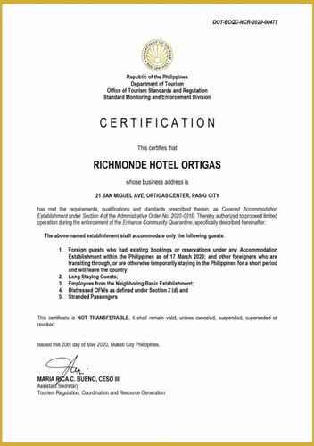HYGIENE_FACILITY Richmonde Hotel Ortigas