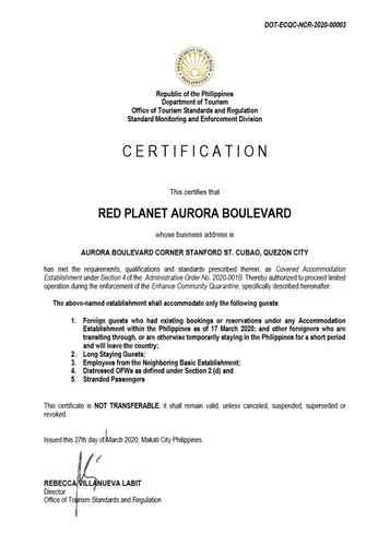 BEDROOM Red Planet Aurora Boulevard -  For Quarantine Stays