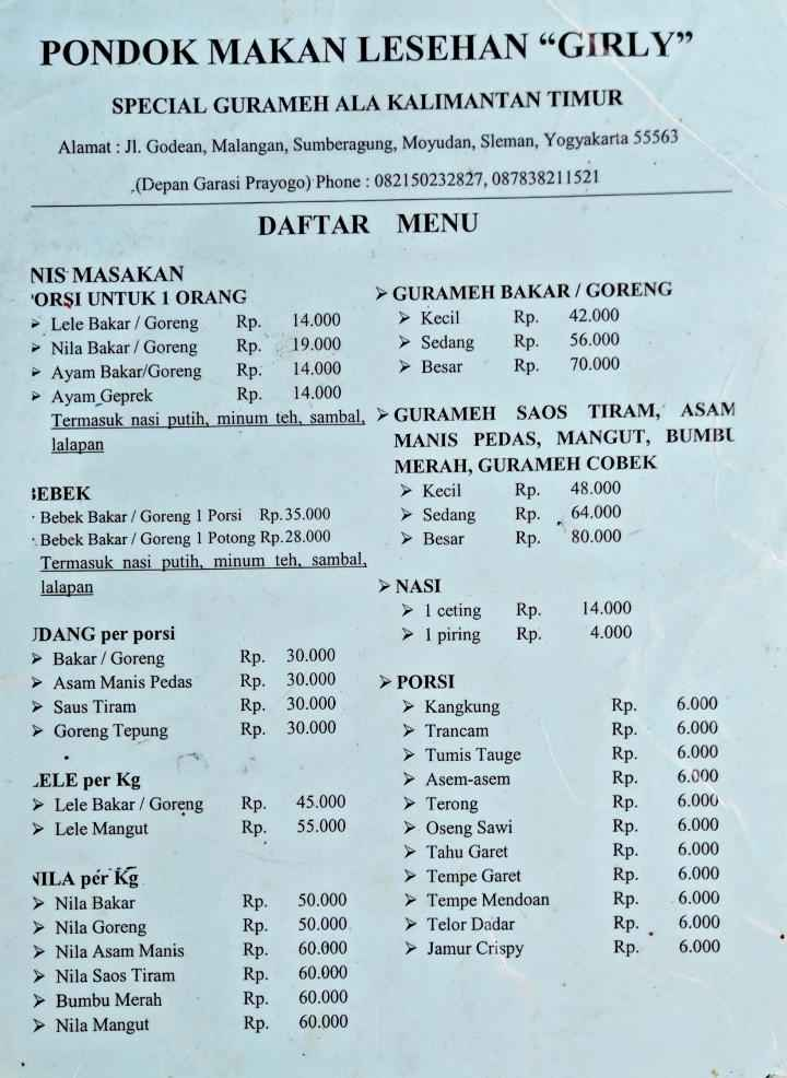 Menu Pondok Makan Girly Moyudan Sleman Kuliner Traveloka