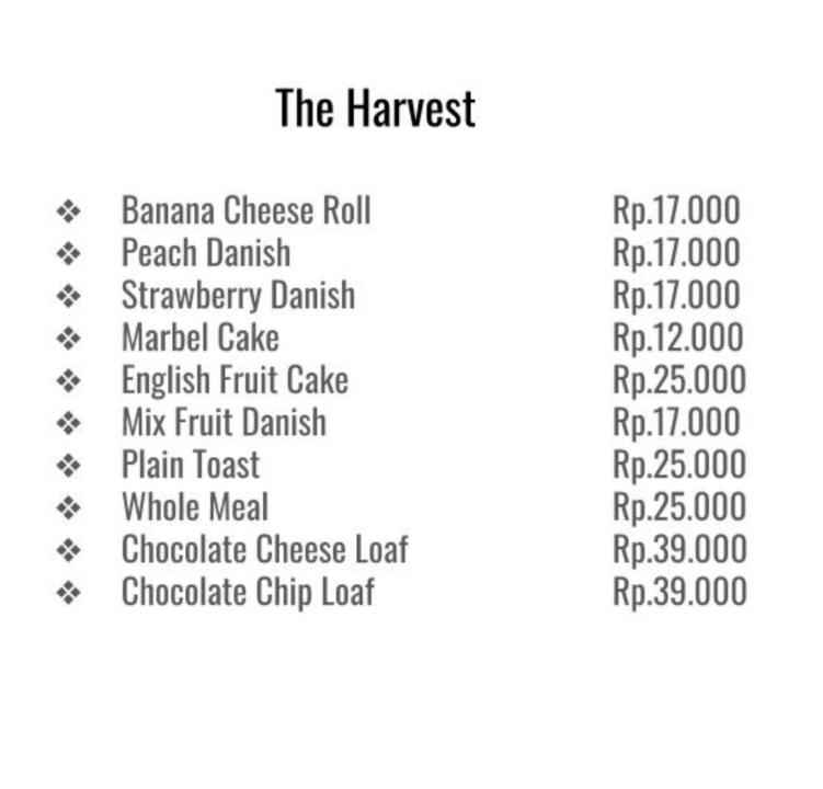 The Harvest Ruko Modernland Menu Updated Menu For The Harvest