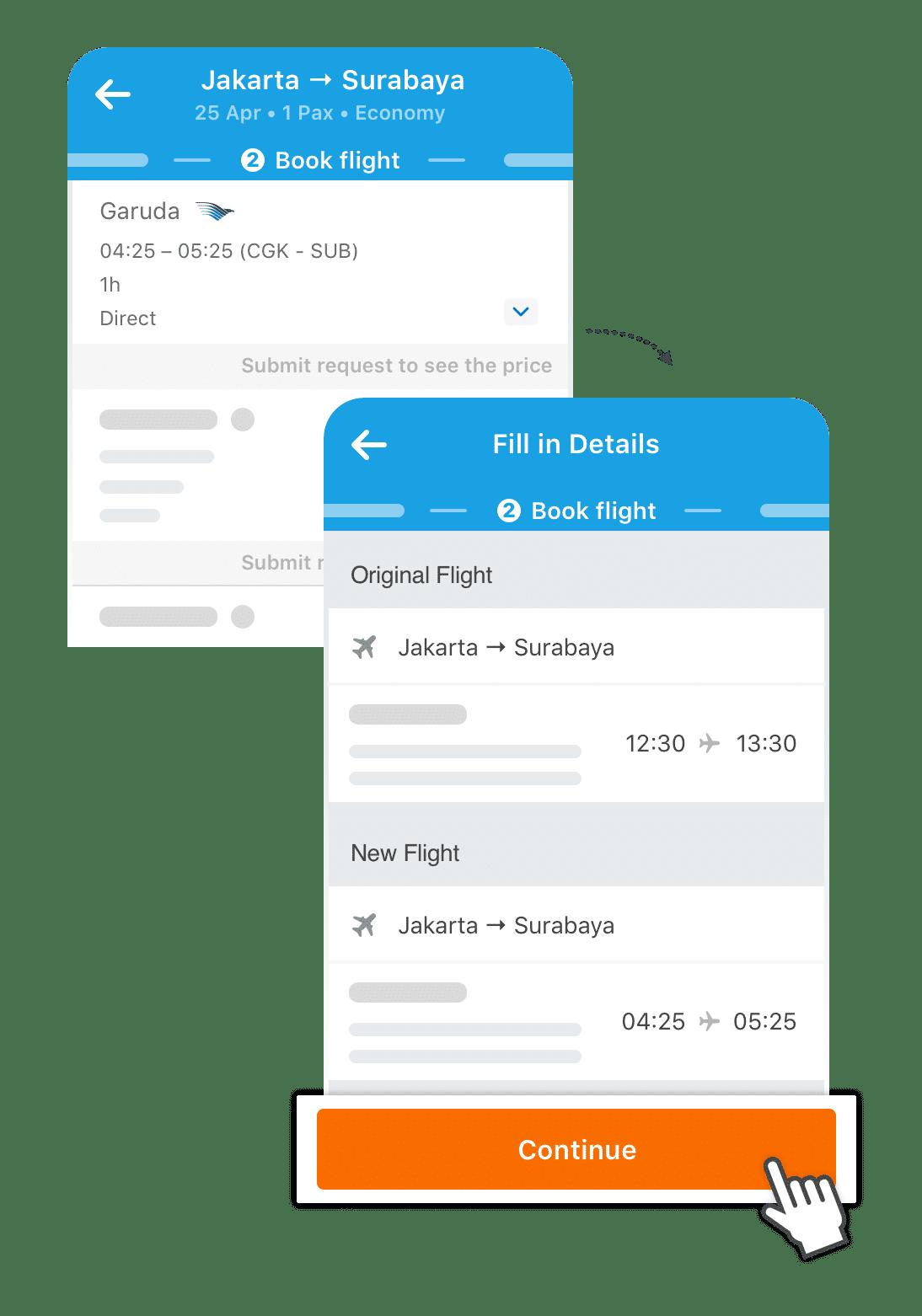 Choose a new flight schedule