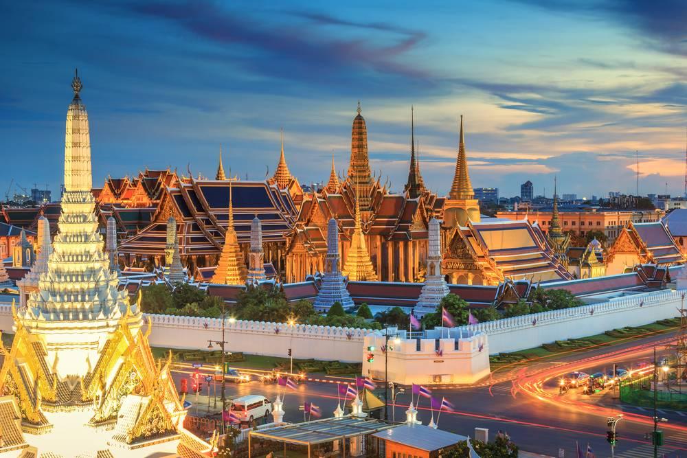 Grand palace and Wat phra keaw at sunset Bangkok