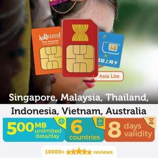 Thailand Asia Lite Travel Prepaid SIM Card by Hello1010 - Malaysia Only , THB 211.50