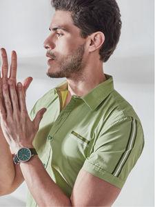 Light Green Sleeve Print Shirt