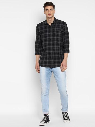 Black & Grey Classic Full Sleeves Checked Shirt