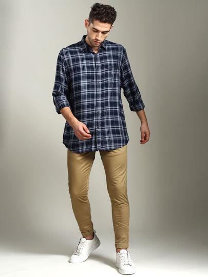 Navy Blue Plaid Check Slim Fit Shirt