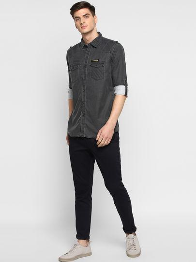 Grey Solid Full-Sleeves Denim Shirt