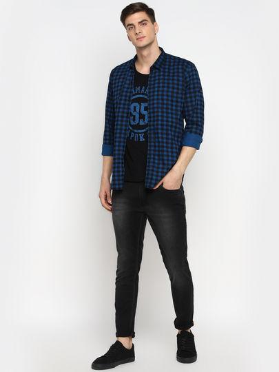 Royal Blue Gingham Full Sleeves Slim Fit Shirt