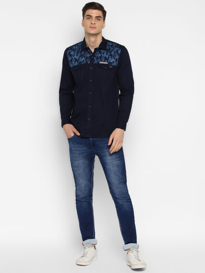 Blue Camouflage Print Casual Shirt