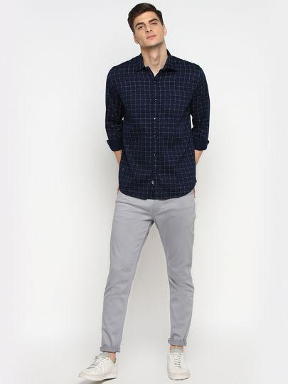Navy Blue & White Grid Check Slim Fit Shirt
