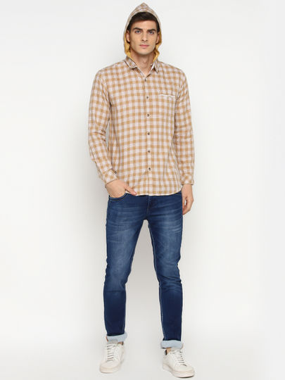 Brown & White Check Slim Fit Shirt