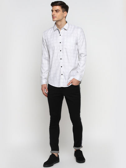 White Checked Full-Sleeves Casual Shirt