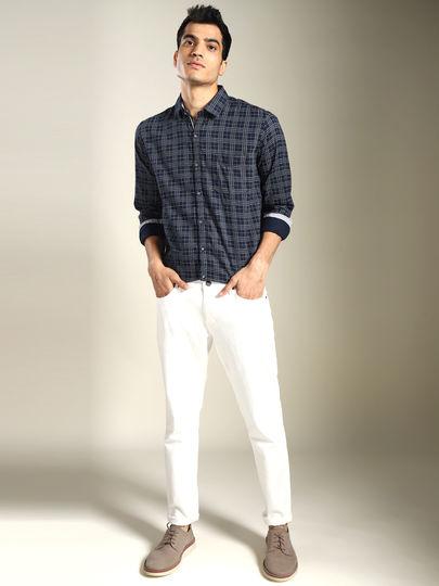 Navy Blue & Grey Check Slim Fit Shirt