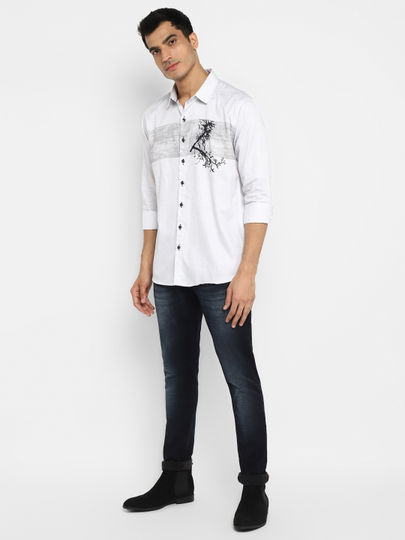 White Placement Print Casual Shirt