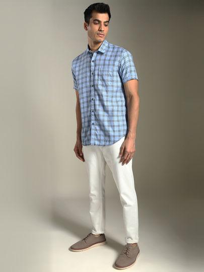 Blue Checked Short Sleeves Casual Shirt