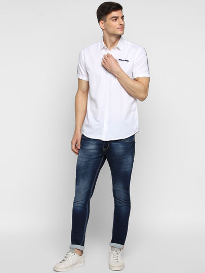 White Tape Detail Short-Sleeve Shirt