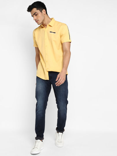 Yellow Tape Detail Short-Sleeve Shirt