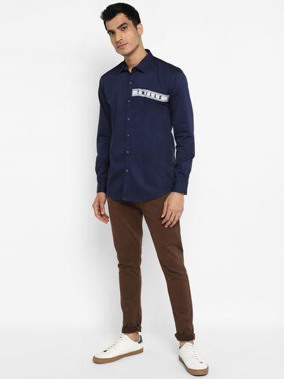 Blue  Cut and Sew  Shirt